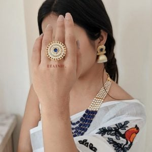 Gold Plated Zircon AD Studded Cocktail Ring – Adjustable Lifestyle Image