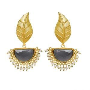 Golden Matte Leaf Stud Earrings – Charcoal Grey Main Image