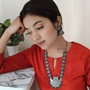 Handcrafted Silver Lookalike Royal Elegant Brass Oxidised Necklace Lifestyle Image