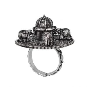 Handcrafted Silver Madkal Brass Ring – Adjustable Main Image