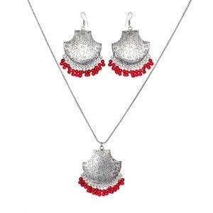 Handmade Oxidised Silver Pendant Necklace Earrings Set Main Image