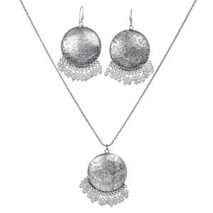 Handmade Silver Oxidised Necklace Earrings Set – White Main Image