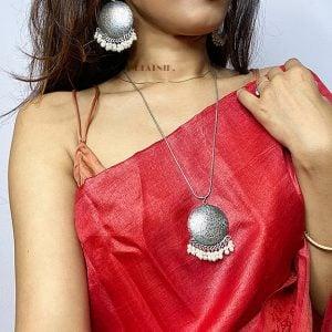 Handmade Silver Oxidised Necklace Earrings Set – White Lifestyle Image