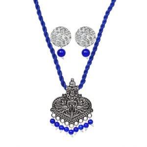 Handmade Thread Oxidised Silver Necklace Earrings Set – Blue Main Image