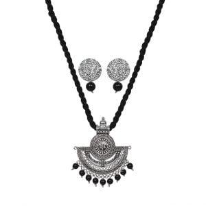 Handmade Thread Silver Oxidised Necklace Earrings Set – Black Main Image