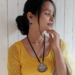 Handmade Thread Silver Oxidised Necklace Earrings Set – Black Lifestyle Image