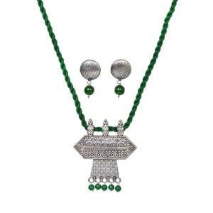 Handmade Thread Silver Oxidised Necklace Earrings Set – Green Main Image