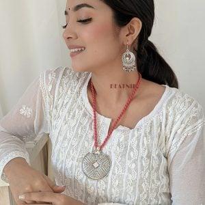 Handmade Thread Silver Oxidised Necklace Earrings Set – Pink Lifestyle Image