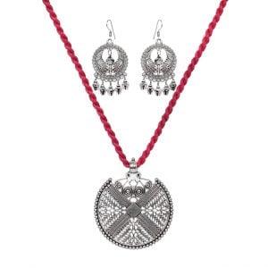 Handmade Thread Silver Oxidised Necklace Earrings Set – Pink Main Image