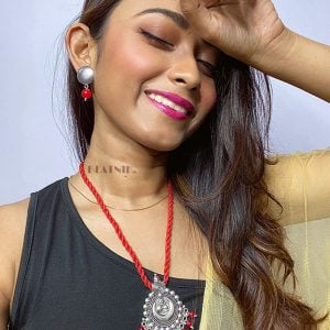 Handmade Thread Silver Oxidised Necklace Earrings Set – Red Lifestyle Image