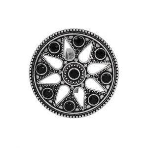 Oxidised Silver Black Stone Ring – Adjustable Main Image