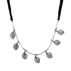 Oxidised Silver Dainty Leaf Choker Main Image