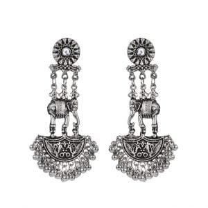 Oxidised Silver Hanging Dangler Earrings Main Image
