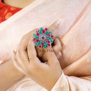 Oxidised Silver Plated Stone Studded Ring – Adjustable Lifestyle Image