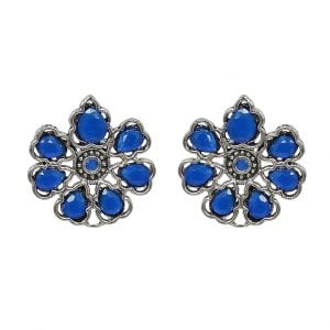 Oxidised Silver Royal Blue Stone Stud Earrings - Main Image
