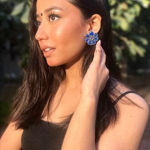 Oxidised Silver Royal Blue Stone Stud Earrings - Lifestyle Image
