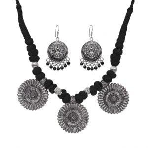 Oxidised Silver Thread Choker Necklace Earrings Set Main Image