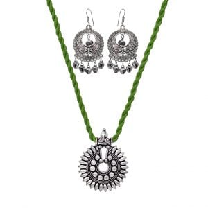 Light Green Thread Silver Oxidised Necklace Earrings Set Main Image