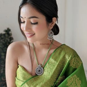Light Green Thread Silver Oxidised Necklace Earrings Set Lifestyle Image