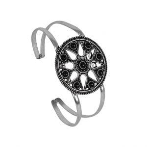 Round Black Stone Brass Kada Cuff Bangle – Adjustable Main Image