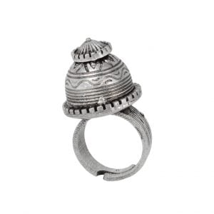 Silver Lookalike Brass Dome Ring – Adjustable Main Image