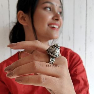 Silver Lookalike Brass Dome Ring – Adjustable Lifestyle Image