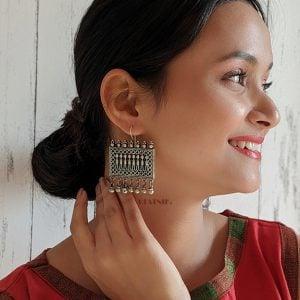 Silver Lookalike Brass Hanging Earrings – Ava Lifestyle Image
