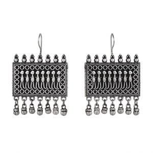 Silver Lookalike Brass Hanging Earrings – Ava Main Image