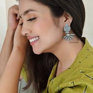 Silver Lookalike Handcrafted Brass Earrings Lifestyle Image