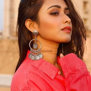 Silver Oxidised Dangling Antique Coin Hoop Earrings Lifestyle Image
