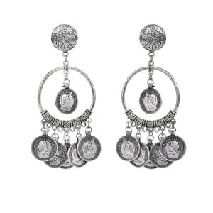 Silver Oxidised Dangling Antique Coin Hoop Earrings Main Image