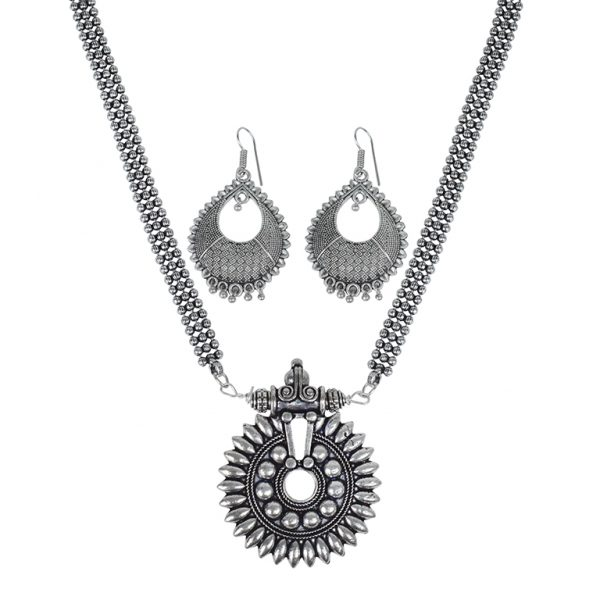Silver Oxidised Plated Long Necklace Earrings Set Main Image