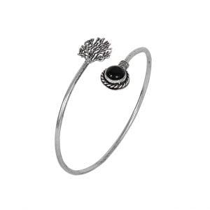 Silver Plated Black Stone Bangle – Adjustable Main Image