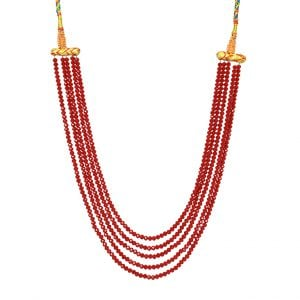 Traditional Cut Glass Red Beads Mala Necklace Main Image