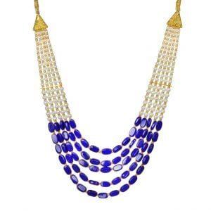 Traditional Layered Blue Beads Mala Necklace Main Image