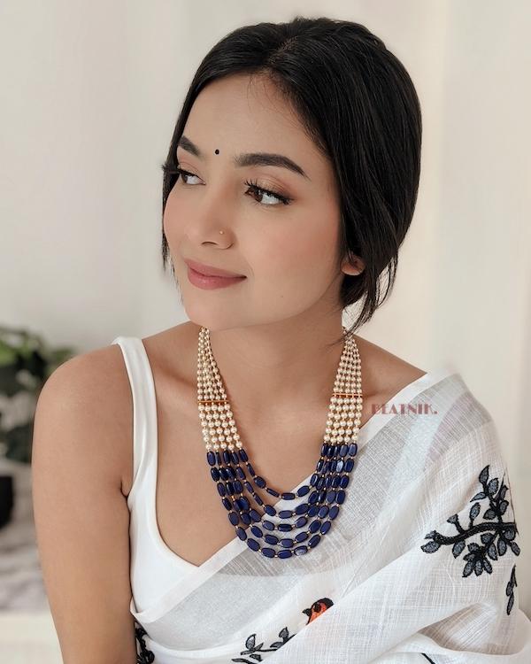 Traditional Layered Blue Beads Mala Necklace Lifestyle Image