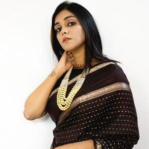 Traditional Layered Golden Beads Mala Necklace Lifestyle Image