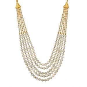 Traditional Layered White Beads Mala Necklace Main Image