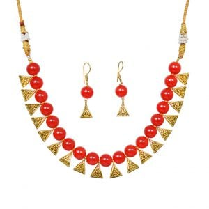 Traditional Loop Red Beads Choker Necklace Earrings Set Main Image