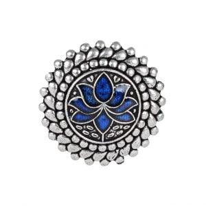 Private: Silver Oxidised Plated Brass Mini Round Ring – Adjustable (Copy) Main Image