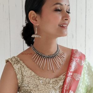 Brass Spiked Silver Oxidised Choker Necklace Earrings Set Lifestyle Image