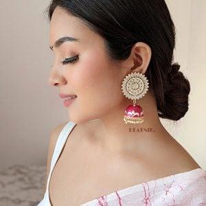 Ethnic Handpainted Meenakari Jhumki Earrings Lifestyle Image