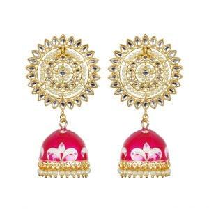 Ethnic Handpainted Meenakari Jhumki Earrings Main Image