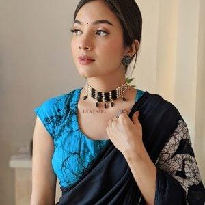 Ethnic Traditional Black Beads Choker Lifestyle Image