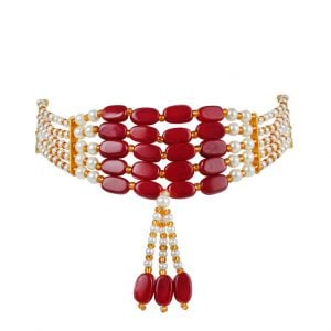 Ethnic Traditional Red White Beads Choker Main Image