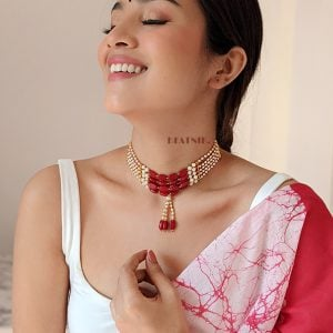 Ethnic Traditional Red White Beads Choker Lifestyle Image