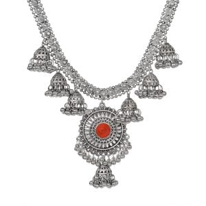 Ghungroo Oxidised Silver Choker Necklace Main Image