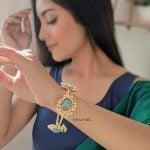 Golden Jadau Turquoise Stone Pearl Bangle – Adjustable