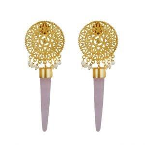 Gold Matte Filigree Patterned Hanging Earrings Main Image