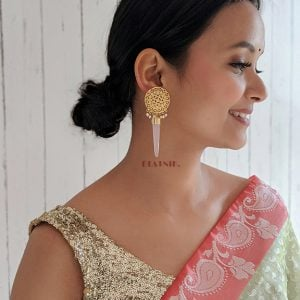 Gold Matte Filigree Patterned Hanging Earrings Lifestyle Image